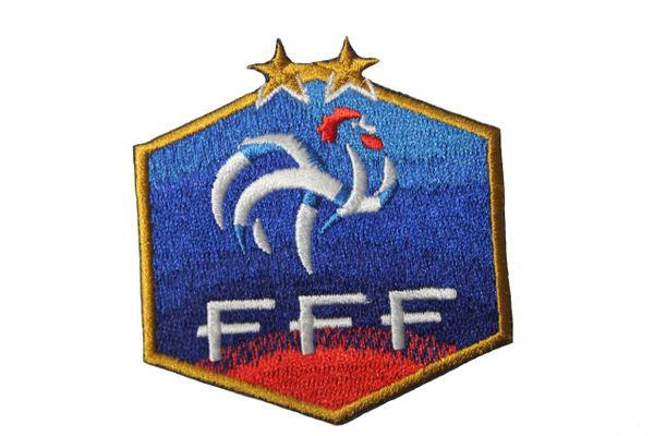 """France FFF Logo FIFA World Cup 2 Stars Iron ON Patch Crest Badge 2 1/2"""" x 2 5/8"""" Inch New"""