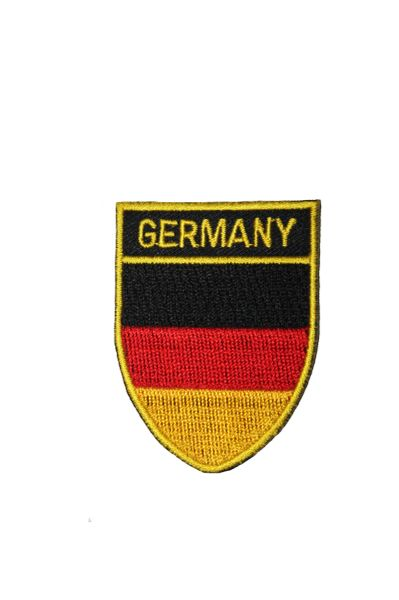 """Germany Shield Shape with Gold Trim Embroidered Iron on Patch Crest Badge.Size : 2.5"""" x 2"""" Inch"""