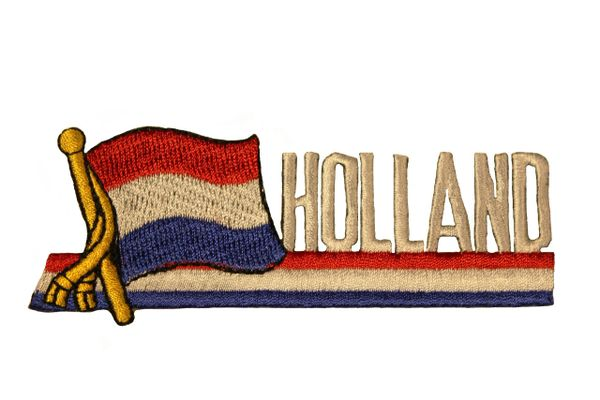 SUPERDAVVES SUPERSTORE Holland Sidekick Word Country Flag Iron on Patch Crest Badge 1.5 X 4.5 Inch New