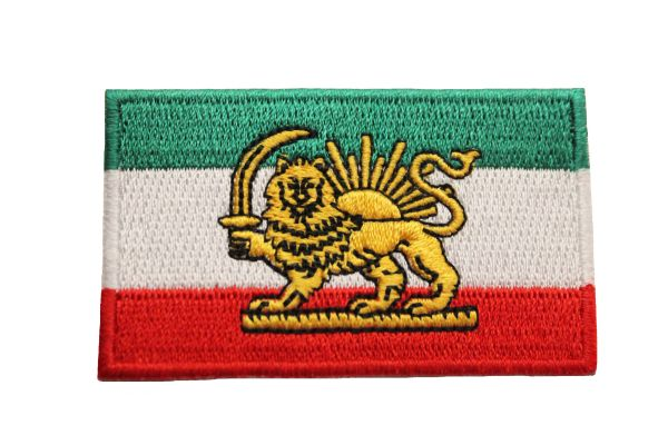 Iran Persian Lion Country Flag Small Iron on Patch Crest Badge .. 1.5 X 2.5 Inches ...