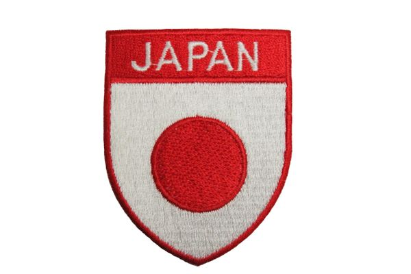 Japan Country Flag Shield Shape with RED Trim Embroidered Iron on Patch Crest