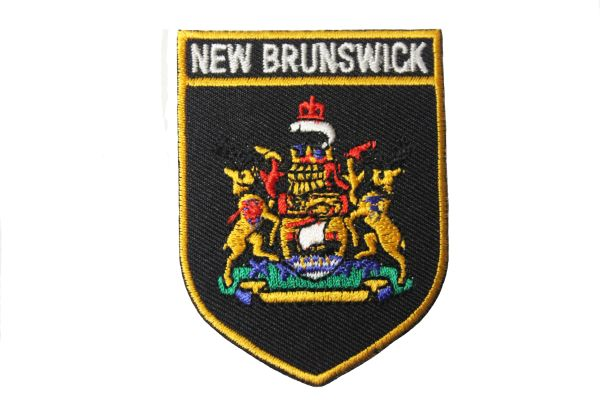 """New Brunswick Black Shield Canada Provincial Flag Embroidered Iron on Patch Crest Badge.Size : 2 1/8"""" x 2 7/8"""" Inch. New"""