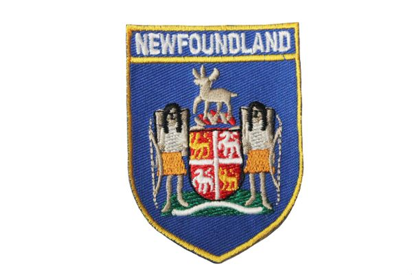 """Newfoundland Blue Shield Canada Provincial 2 1/8"""" x 2 7/8"""" Inches Embroidered Iron on Patch Crest Badge..."""