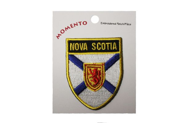 "NOVA Scotia Canada Provincial Flag Shield with Gold Trim 1 7/8"" x 2 1/4"" Inch Embroidered Iron on Patch Crest Badge. New"