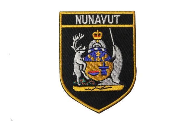 "Nunavut Black Shield Canada Territory Flag Embroidered Iron on Patch Crest Badge.Size : 2 1/8"" x 2 7/8"" Inch. New"