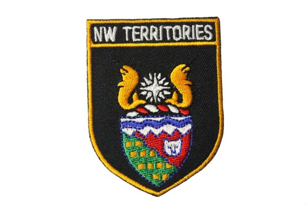 "Canada Northwest Territories Black Shield Flag Embroidered Iron on Patch Crest Badge.Size : 2 1/8"" x 2 7/8"" Inch. New"