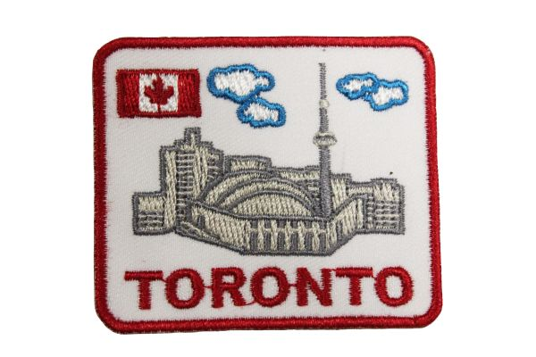 "Toronto CN Tower Skyline Canada Rectangle Embroidered Iron on Patch Crest Badge. Size : 2.5"" x 2"" Inch.New"