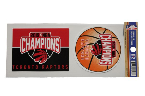 "Toronto Raptors 2019 NBA Champions Double UP DIE - Cut Sticker. Size : 4"" X 3"" & 3.25"" Round Inch. RICO Industries INC.New …"