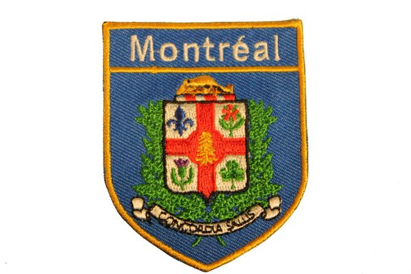 MONTREAL City Flag BLUE SHIELD Shape Iron - On PATCH CREST BADGE