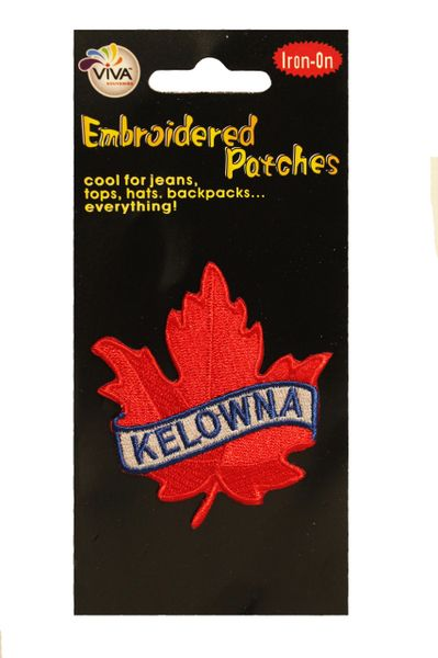 KELOWNA Red Maple Leaf Embroidered Iron - On PATCH CREST BADGE