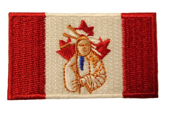 CANADA Country Flag / INDIAN CHIEF Embroidered Iron - On PATCH CREST BADGE