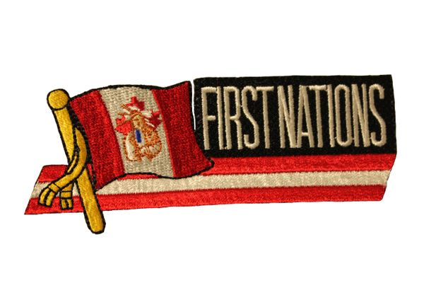 CANADA Country Flag / INDIAN CHIEF - FIRST NATIONS Sidekick Word Embroidered Iron - On PATCH CREST BADGE