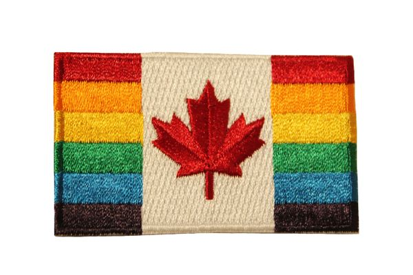 GAY & LESBIAN RAINBOW PRIDE Flag & Red Maple LEAF Iron - On PATCH CREST BADGE