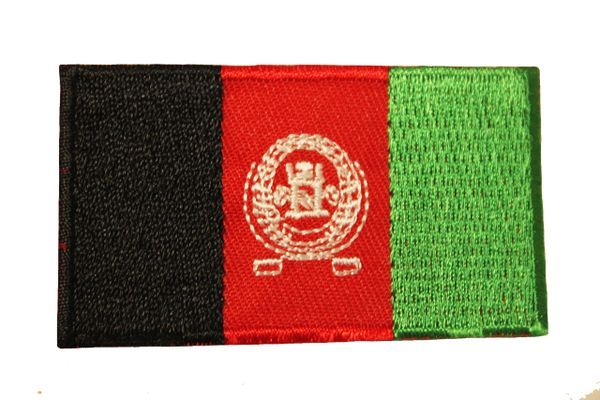 AFGHANISTAN NATIONAL COUNTRY FLAG IRON ON PATCH CREST BADGE ... 1.5 X 2.5 INCHES ... NEW
