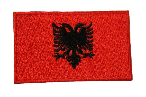 ALBANIA NATIONAL COUNTRY FLAG IRON ON PATCH CREST BADGE .. 1.5 X 2.5 INCHES . NEW