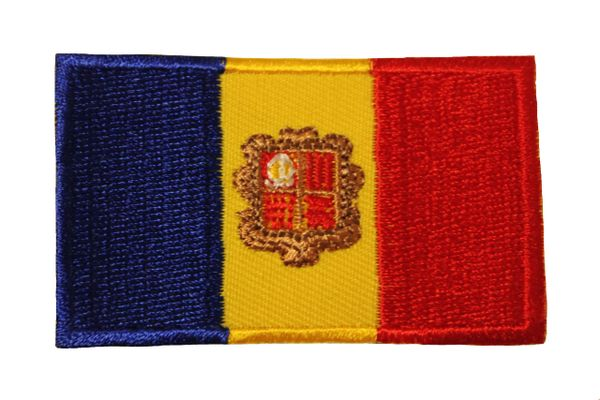 ANDORRA NATIONAL COUNTRY FLAG IRON ON PATCH CREST BADGE .. 1.5 X 2.5 INCHES ... NEW