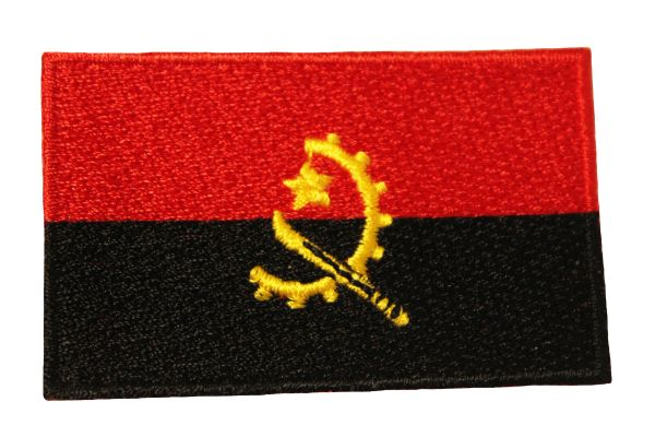 ANGOLA NATIONAL COUNTRY FLAG IRON ON PATCH CREST BADGE ... 1.5 X 2.5 INCHES .. NEW