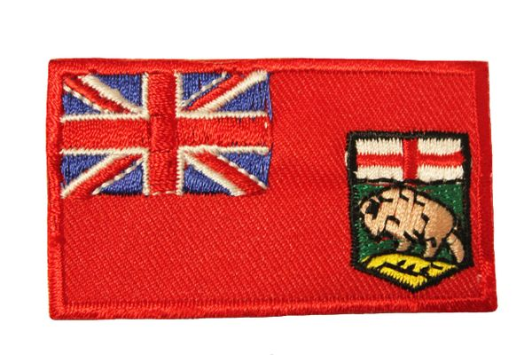 MANITOBA CANADA PROVINCIAL FLAG IRON ON PATCH CREST BADGE .. 1.5 X 2.5 INCHES .. NEW