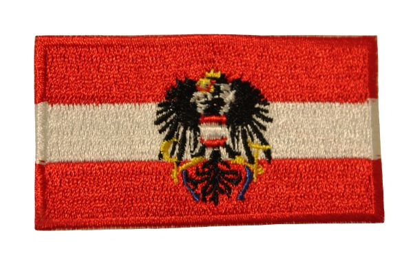 "AUSTRIA With EAGLE Country Flag Iron On PATCH BADGE CREST .. Size : 1.5"" X 2.5"" Inch"