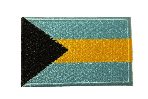 BAHAMAS COUNTRY FLAG IRON ON PATCH CREST BADGE .. Size : 1.5 X 2.5 INCH