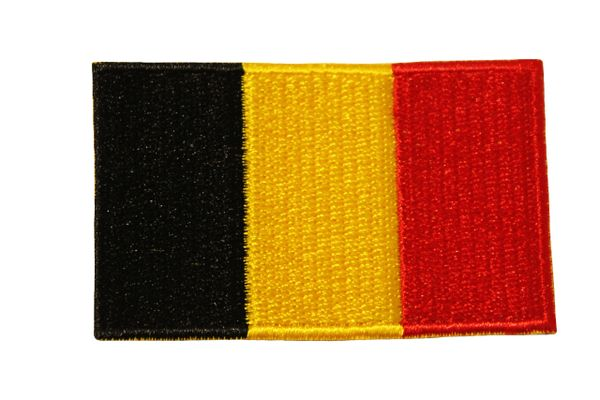 BELGIUM COUNTRY FLAG IRON ON PATCH CREST BADGE .. Size : 1.5 X 2.5 INCH