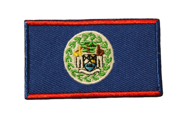 BELIZE COUNTRY FLAG IRON ON PATCH CREST BADGE .. Size : 1.5 X 2.5 INCH