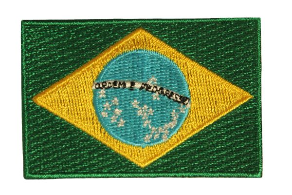 BRAZIL BRASIL COUNTRY FLAG IRON ON PATCH CREST BADGE ..Size : 1.5 X 2.5 INCH