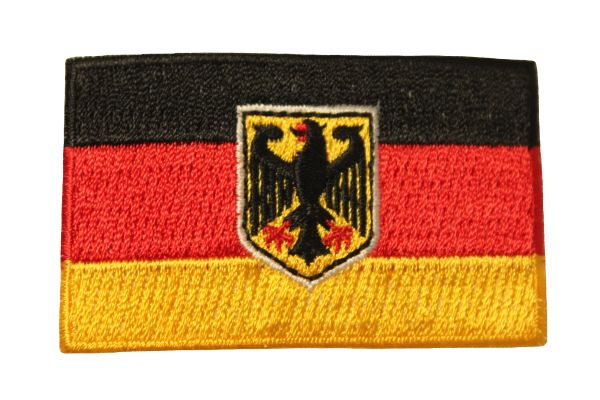 "GERMANY With EAGLE Country Flag Iron On PATCH CREST BADGE .. Size : 1.5"" X 2.5"" Inch"