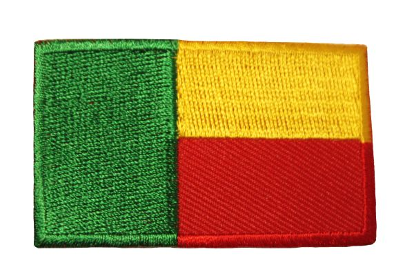 BENIN COUNTRY FLAG IRON ON PATCH CREST BADGE ..Size : 1.5 X 2.5 INCH