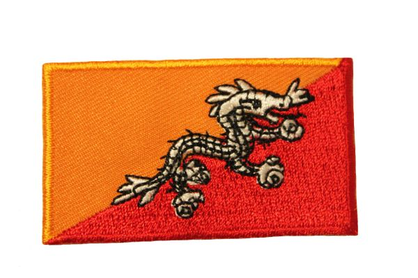 BHUTAN COUNTRY FLAG IRON ON PATCH CREST BADGE .. Size : 1.5 X 2.5 INCH