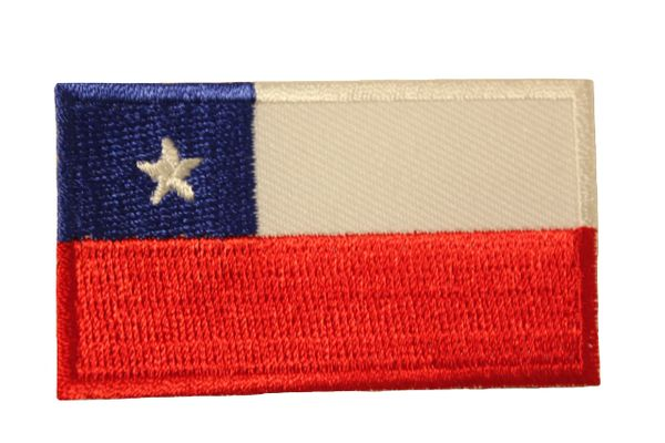 CHILE COUNTRY FLAG IRON ON PATCH CREST BADGE .. Size : 1.5 X 2.5 INCH
