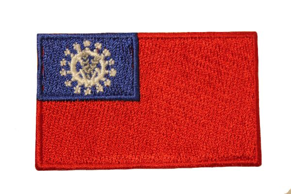 BURMA Old 1974 - 2010 COUNTRY FLAG IRON PATCH CREST BADGE ..Size : 1.5 X 2.5 INCH