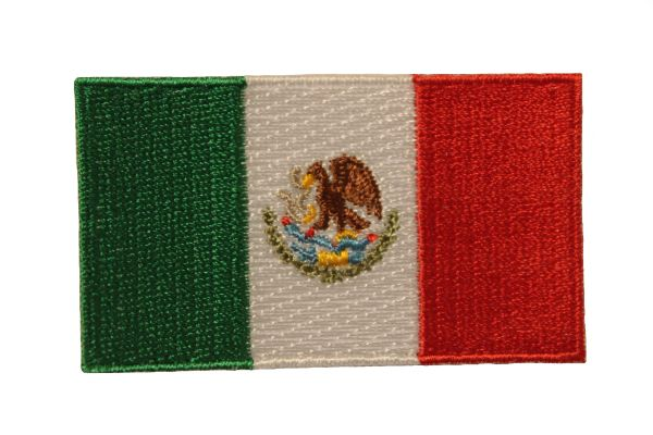 MEXICO NATIONAL COUNTRY FLAG IRON ON PATCH CREST BADGE .. 1.5 X 2.5 INCHES .. NEW