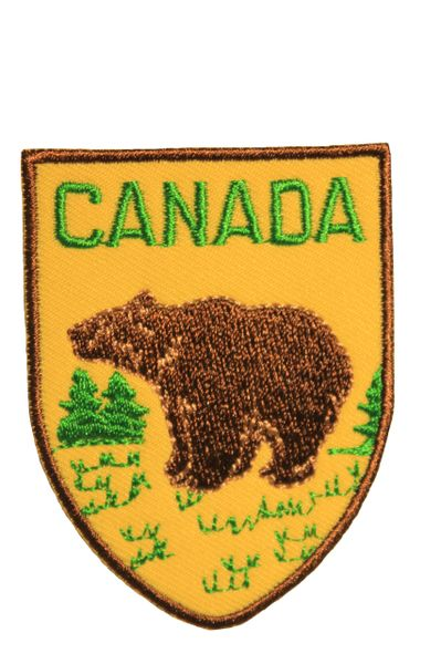 CANADA BEAR Shield Shape Iron On PATCH CREST BADGE