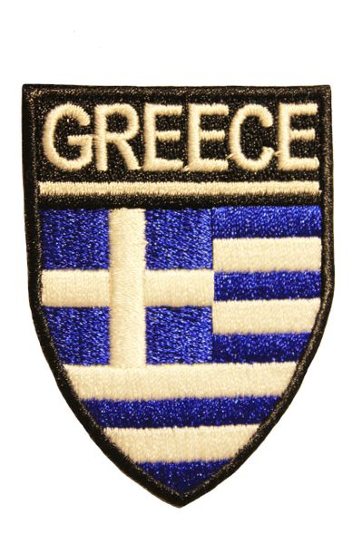 GREECE Country Flag Logo Shield Shape Iron On PATCH CREST BADGE