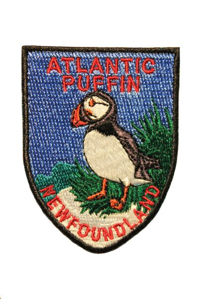 ATLANTIC PUFFIN NEWFOUNDLAND Shield Shape Iron On PATCH CREST BADGE