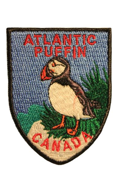ATLANTIC PUFFIN CANADA Shield Shape Iron On PATCH CREST BADGE