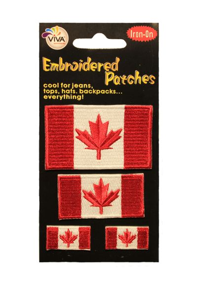"""CANADA Country Flag Set Of 4 Iron On PATCH CREST BADGES .. Size : 1.4"""" x 2.4"""" , 1"""" x 2"""" , 2 - 0.5"""" x 1"""" Inch"""