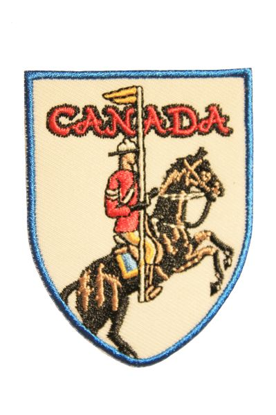 CANADA MOUNTED POLICE Shield Shape Iron On PATCH CREST BADGE