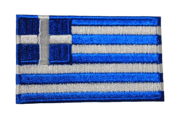 GREECE HELLAS NATIONAL COUNTRY FLAG IRON ON PATCH CREST BADGE .. 1.5 X 2.5 INCHES .. NEW