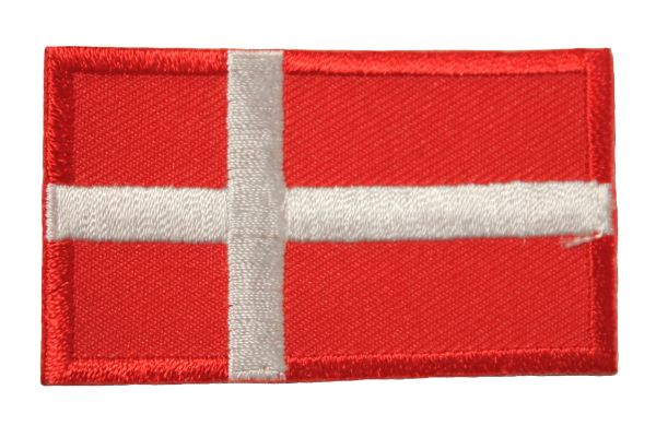 DENMARK NATIONAL COUNTRY FLAG IRON ON PATCH CREST BADGE .. 1.5 X 2.5 INCHES .. NEW