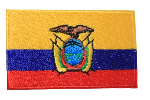 ECUADOR NATIONAL COUNTRY FLAG IRON ON PATCH CREST BADGE .. 1.5 X 2.5 INCHES .. NEW