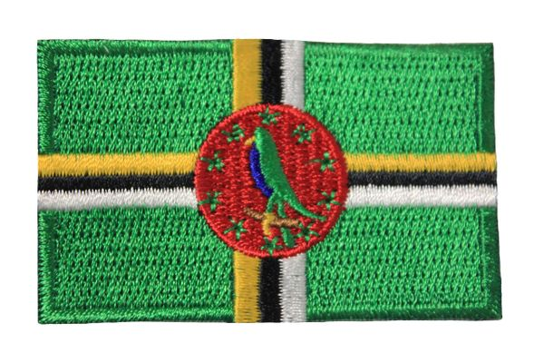 DOMINICA NATIONAL COUNTRY FLAG IRON ON PATCH CREST BADGE .. 1.5 X 2.5 INCHES ..NEW