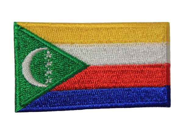 COMOROS NATIONAL COUNTRY FLAG IRON ON PATCH CREST BADGE .. 1.5 X 2.5 INCHES . NEW
