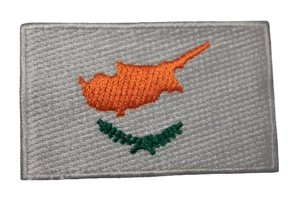 CYPRUS NATIONAL COUNTRY FLAG IRON ON PATCH CREST BADGE .. 1.5 X 2.5 INCHES .. NEW