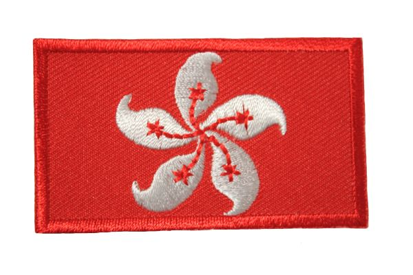 HONG KONG NEW NATIONAL COUNTRY FLAG IRON ON PATCH CREST BADGE .. 1.5 X 2.5 INCHES .. NEW