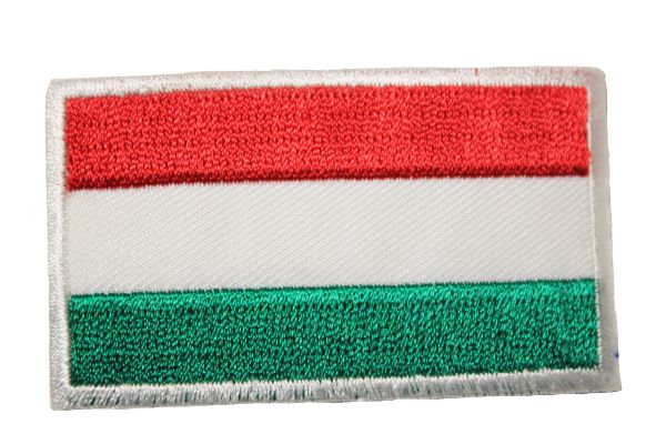 HUNGARY PLAIN NATIONAL COUNTRY FLAG IRON ON PATCH CREST BADGE .. 1.5 X 2.5 INCHES .. NEW