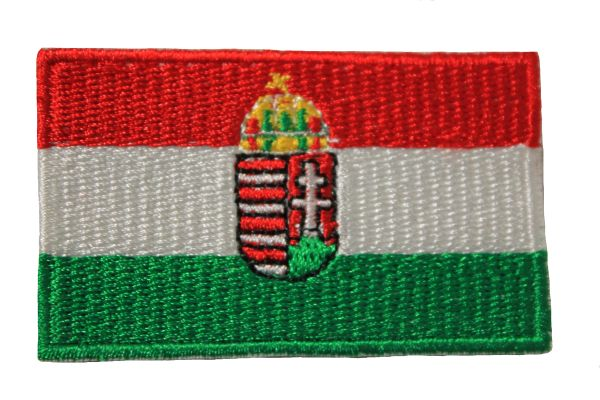 HUNGARY WITH COAT Of ARMS FLAG IRON ON PATCH CREST BADGE