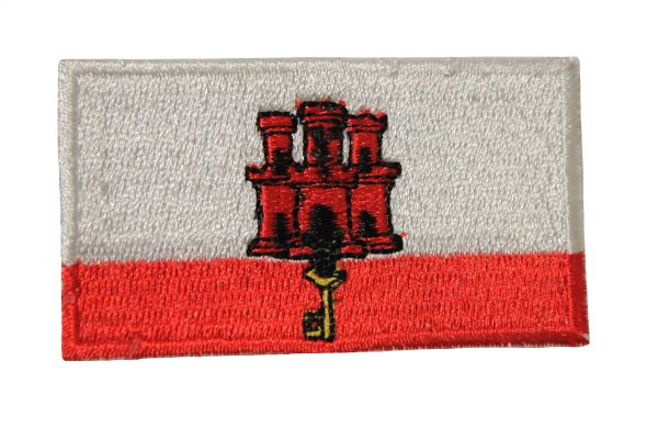 GIBRALTAR NATIONAL COUNTRY FLAG IRON ON PATCH CREST BADGE .. 1.5 X 2.5 INCHES .. NEW
