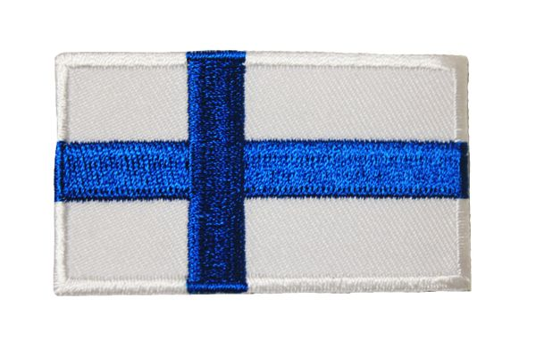FINLAND NATIONAL COUNTRY FLAG IRON ON PATCH CREST BADGE ... 1.5 X 2.5 INCHES .. NEW